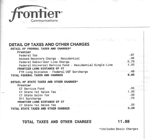 Tax portion of a $43 bill for basic landline service.